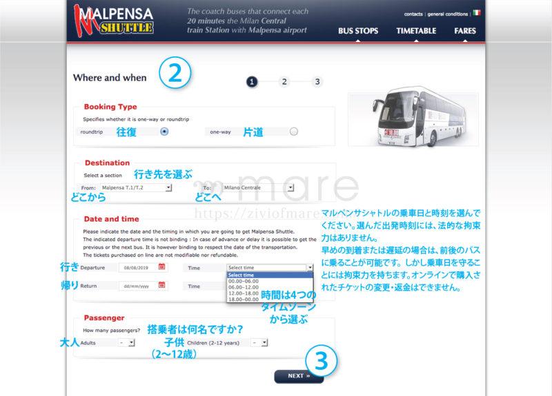 マルペンサ空港からミラノ中央駅までのバスチケットの取り方【日本語訳付き】2