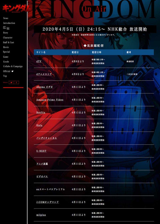 【公式サイト】キングダムのアニメの動画配信サービス13社